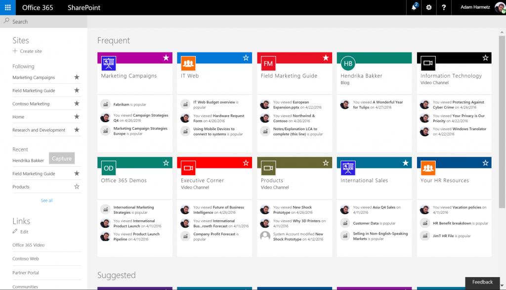 przykładowa strona startowa aplikacji SharePoint