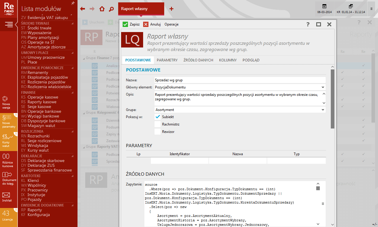 Rewizor nexo PRO - raporty własne