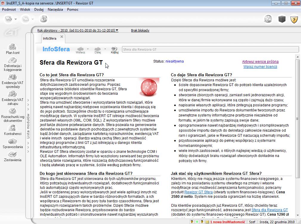 Sfera dla Rewizora GT - infosfera