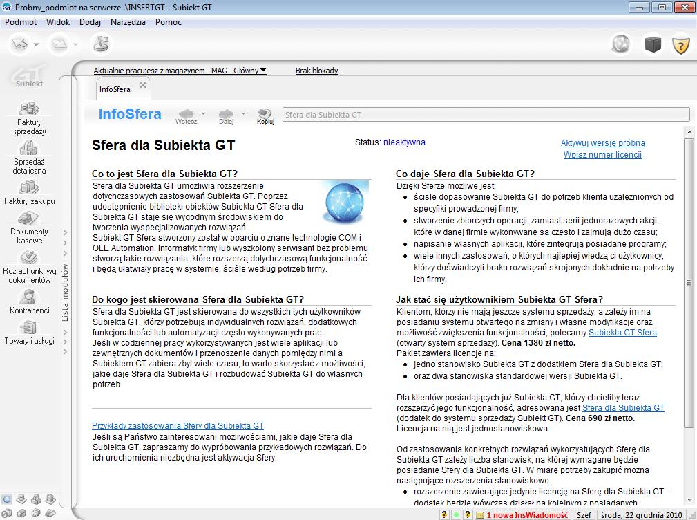 Sfera dla Subiekta GT - InfoSfera