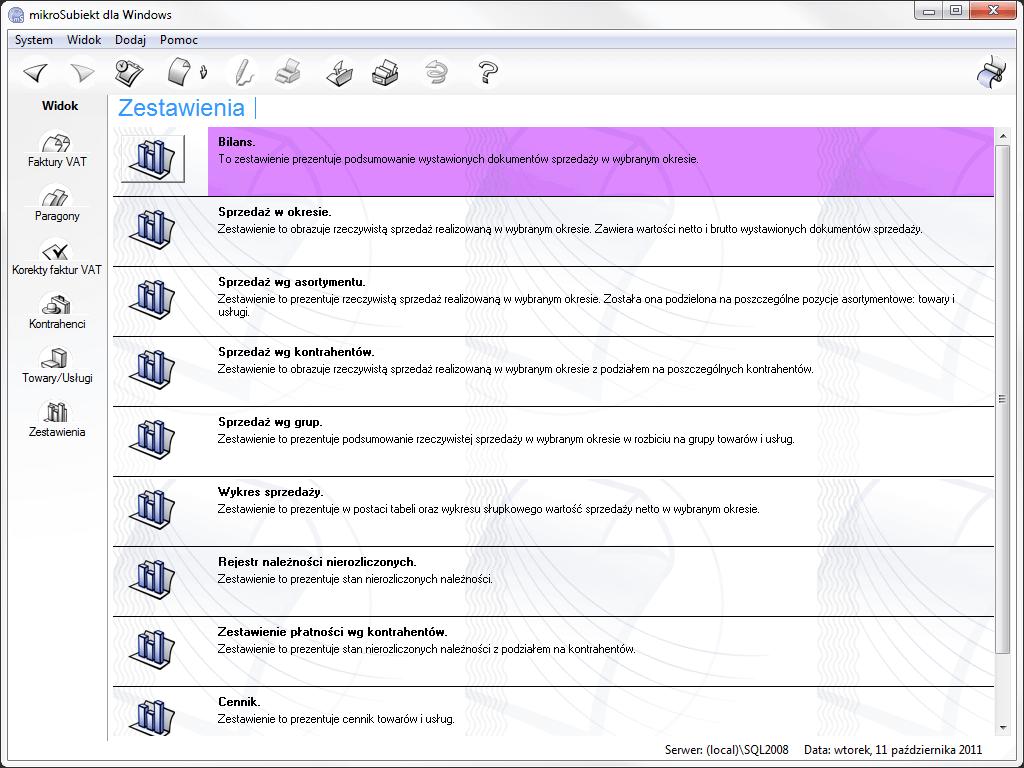mikroSubiekt - moduł zestawienia
